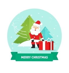 Santa claus gift box merry christmas card new vector