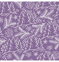 seamless hand-drawn pattern with fir trees and vector image