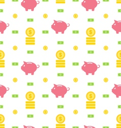 Seamless pattern with moneybox bank notes coins vector
