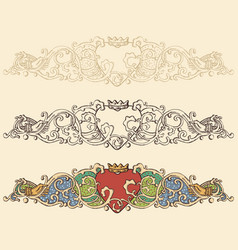 Set of renaissance heart borders vector