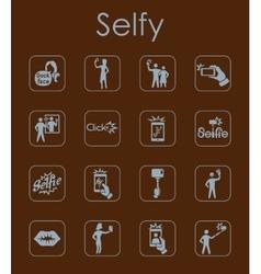 Set of selfie simple icons vector image