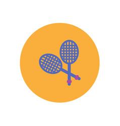 Stylish icon in color circle tennis rocket vector