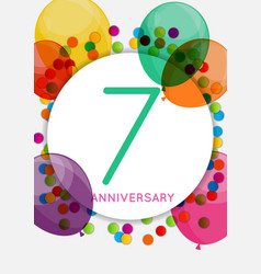 Template 7 years anniversary congratulations vector