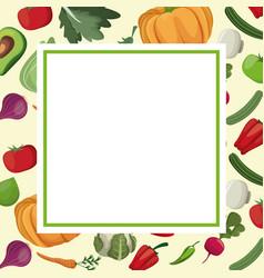 Vegetables fresh ingredients card image vector