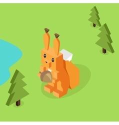 Wild Animal Squirrel Isometric 3d Design vector image