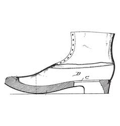 Wooden soles vintage engraving vector