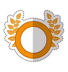 wreath leafs crown emblem vector image