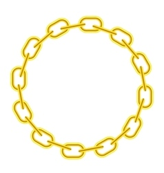 Yellow chain round frame vector