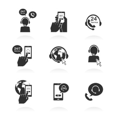 Icons of global online support service open 24 vector