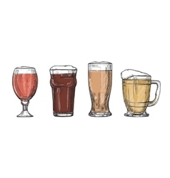 Glasses of beer freehand drawing vector