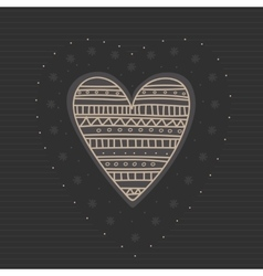 Sketch hearts with ornament hand drawn cute vector