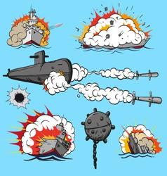 Set of warships vector image