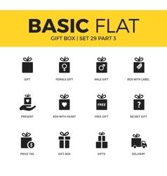 Basic set of gift box icons vector