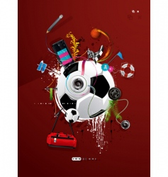 Soccer ball graffiti vector