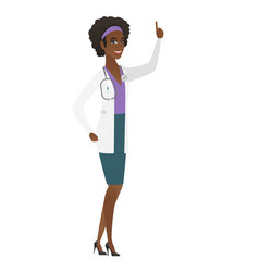 African doctor pointing with her forefinger vector