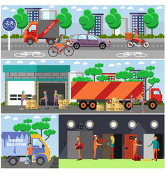 set of food delivery posters banners in vector image