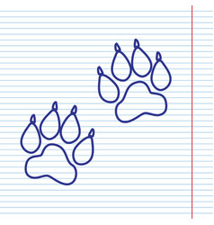 Animal tracks sign  navy line icon on vector