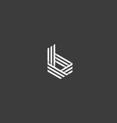 Line letter b logotype abstract geometric logo vector