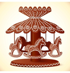 Christmas sweets toy horses chocolate carousel vector
