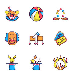 funfair icons set flat style vector image
