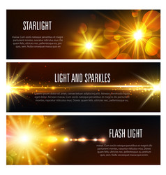 Banners of light flash and sparkles effect vector