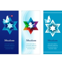 Three template cards with jewish symbols vector