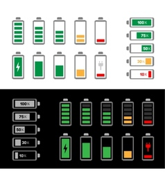 simple battery icon set vector image