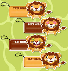 Four cute cartoon lions stickers set2 vector