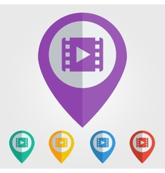 Flat pin with movie icon vector