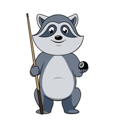 Raccoon billiards player with ball and cue vector