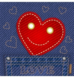 Cute smiling heart in jeans pocket vector