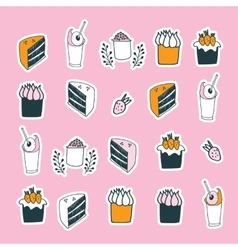 Delicious food desserts set cake muffin cupcake vector