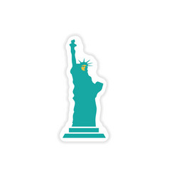 Paper sticker the statue of liberty on white vector