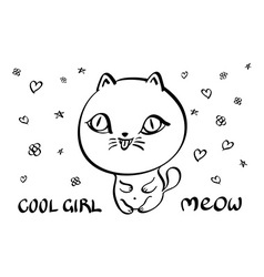 Cat with text meow bubble clear vector