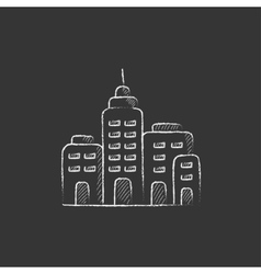 Residential buildings drawn in chalk icon vector