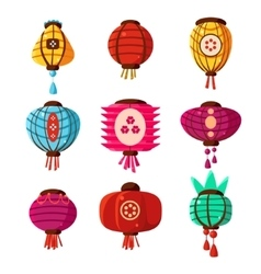 Chineese lanters decoration collection vector