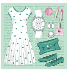 Fashion set in pastel tones with a dress vector image