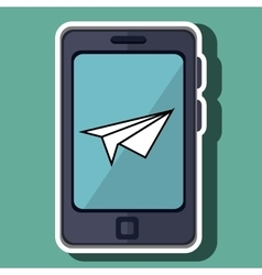 Smartphone and paper airplane isolated icon vector