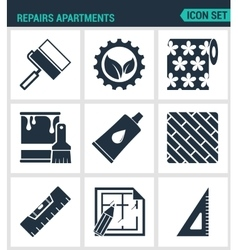Set of modern icons repairs apartments vector