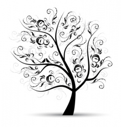 art tree beautiful black silhouette vector image