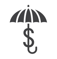 business insurance solid icon umbrella dollar vector image
