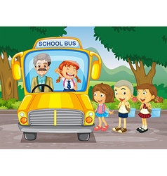 Children getting on school bus vector