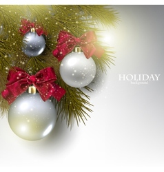 Christmas background with balls Xmas baubles vector image