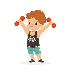 Curly boy exercising with dumbbells kid doing vector