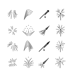 Firework explosion effects set vector image vector image