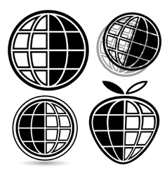 Globe logo set vector image vector image
