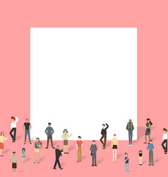 Group of people with big board vector