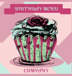 Happy birthday cupcakemenu cover vector