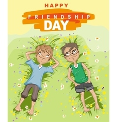 Happy friendship day Two boy lying on green grass vector image vector image