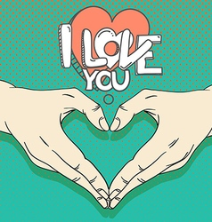 Human hands with heart sign Love concept vector image vector image